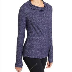 Athleta Heather Blue Grateful Cowl Neck Top Tunic